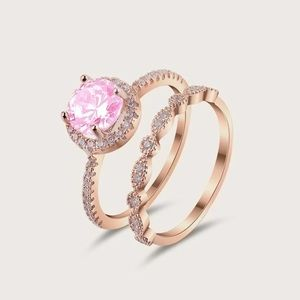 Jewelry - NEW! Dainty 18K Pink Sapphire Halo Engagement Ring